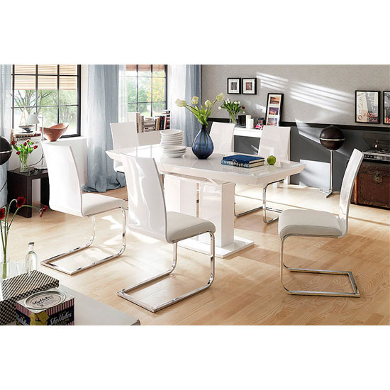 Genisimo High Gloss Dining Table With 6 White Dining Chairs