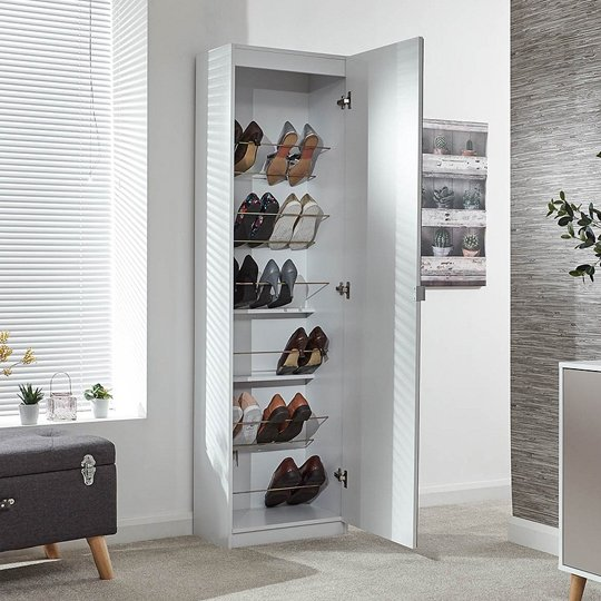 Chamaeleon Tall Mirrored Shoe Cabinet In White_2