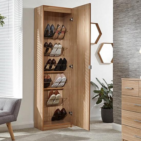 Chamaeleon Tall Mirrored Shoe Cabinet In Oak_2