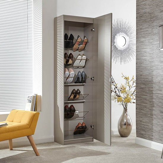 Chamaeleon Tall Mirrored Shoe Cabinet In Light Grey_2