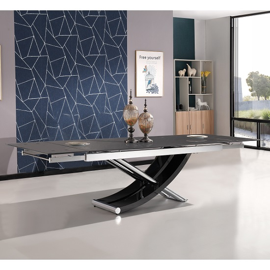 Chanelle Glass Extendable Dining Table In Black With Chrome Legs_1