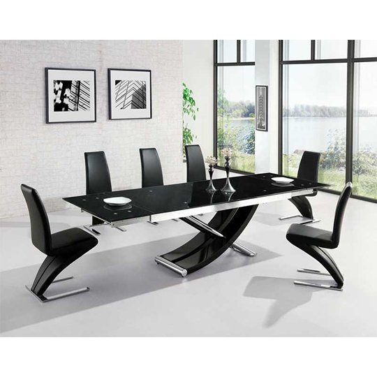 Chanelle Glass Extendable Dining Table With 6 Demi Black Chairs Furniture In Fashion