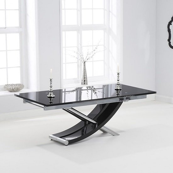 Chanelle Glass Extendable Dining Table In Black With Chrome Legs_2