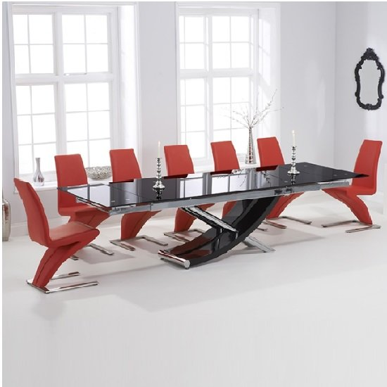 Chanelle Glass Extendable Dining Table With 6 Demi Red Chairs