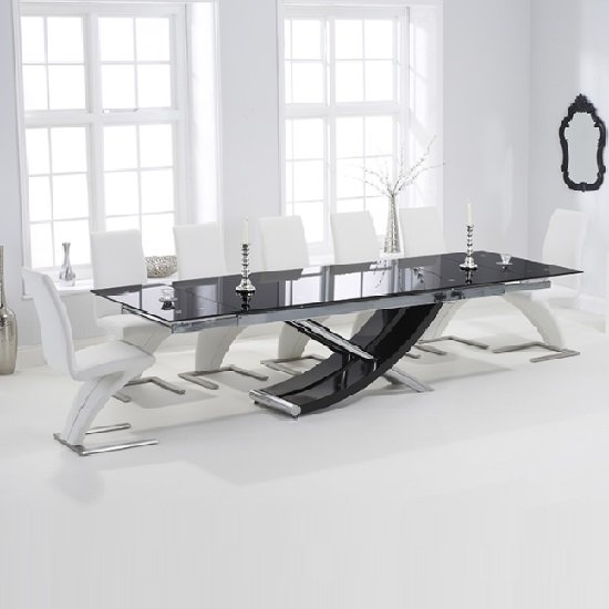 Chanelle Glass Extendable Dining Table With 6 Demi White Chairs