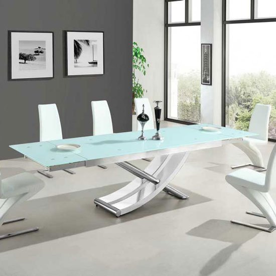 Chanelle Glass Extendable Dining Table In White With Chrome Legs