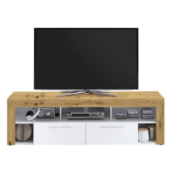 Chapel LCD TV Stand In Artisan Oak And White With 2 Drawers