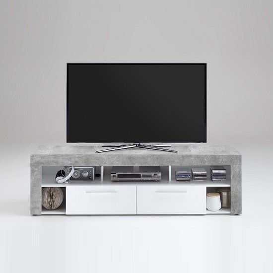 Chapel TV Stand In White And Light Atelier With 2 Drawers