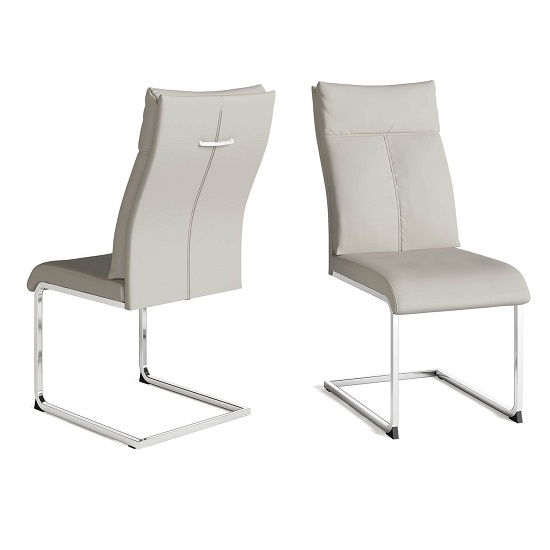 Chapin Faux Leather Dining Chair In Cream And Chrome Leg In Pair