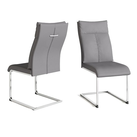 Chapin Faux Leather Dining Chair In Grey With Chrome Leg In Pair_1