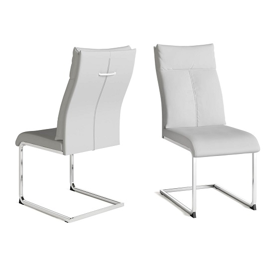 Chapin Faux Leather Dining Chair In White And Chrome Leg In Pair_1