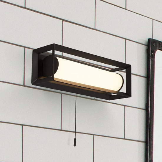 Chaplin LED Small Wall Light In Matt Black With Pull Switch