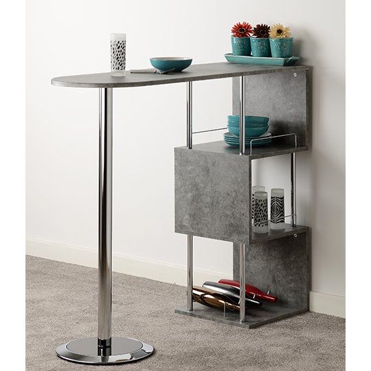 Charisma Home Bar Table In Concrete Effect And Chrome_2