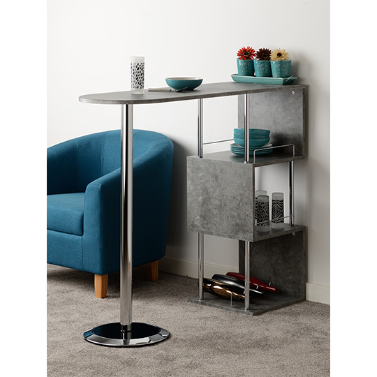 Charisma Home Bar Table In Concrete Effect And Chrome_3