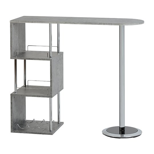 Charisma Home Bar Table In Concrete Effect And Chrome_1