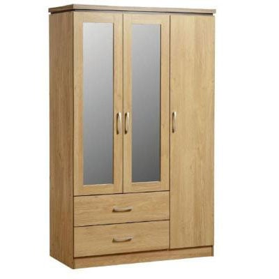 Carlo 3 Door 2 Drawer Wardrobe with Mirrors in Oak Vaneer