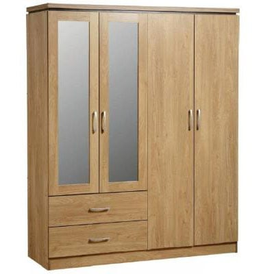 Carlo 4 Door 2 Drawer Wardrobe with Mirrors in Oak Vaneer