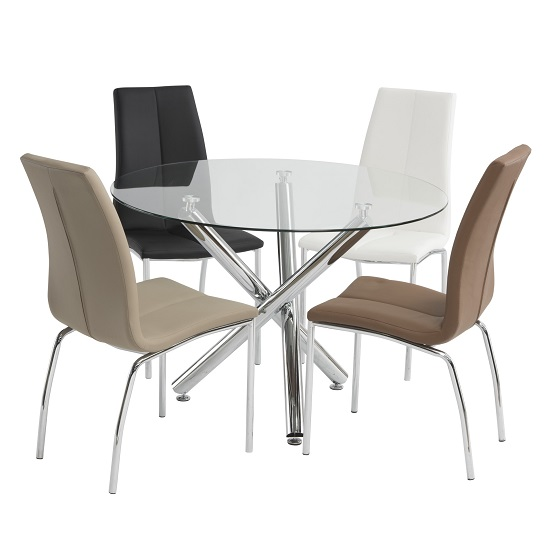 Charles Modern Round Glass Dining Set With 4 Chairs