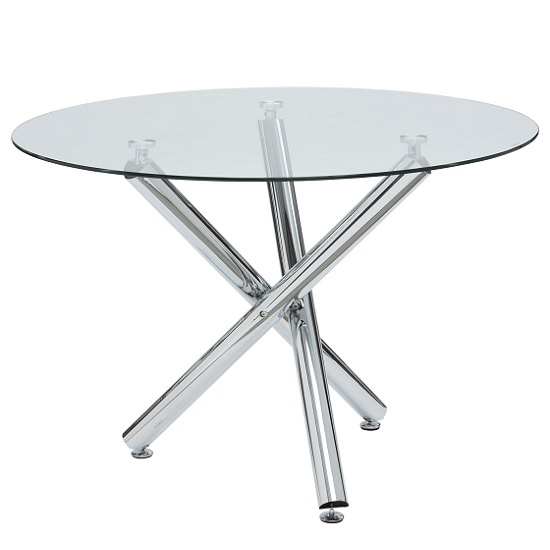 Charles Glass Dining Table Round In Clear With Chrome Legs
