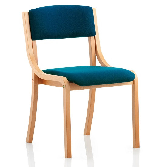 Charles Office Chair In Kingfisher And Wooden Frame