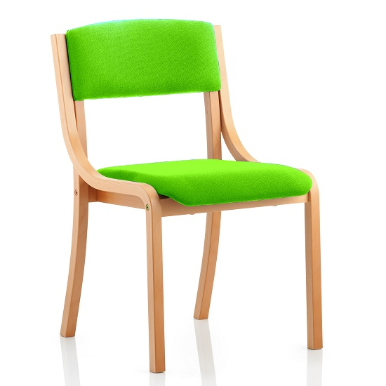 Charles Office Chair In Green And Wooden Frame