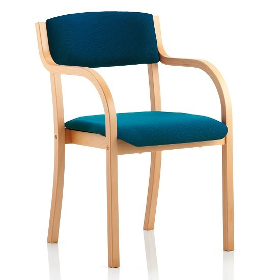 Charles Office Chair In Kingfisher And Wooden Frame With Arms