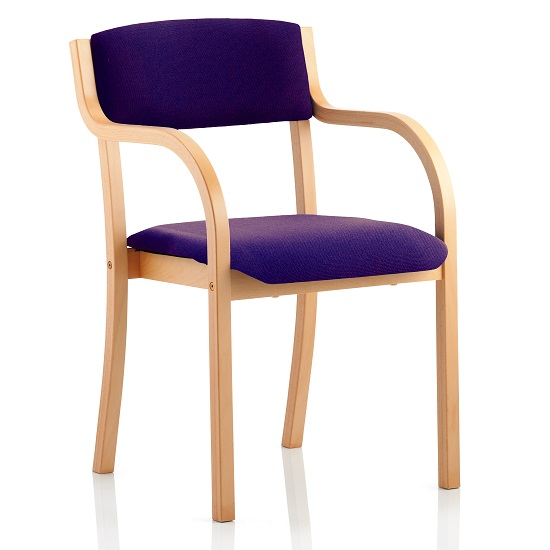 Charles Office Chair In Purple And Wooden Frame With Arms