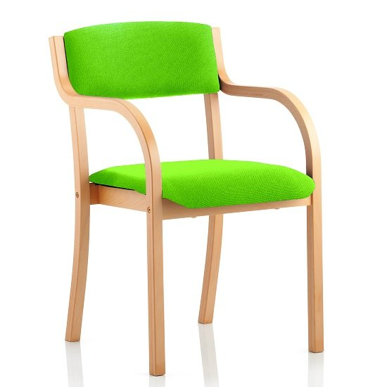 Charles Office Chair In Green And Wooden Frame With Arms