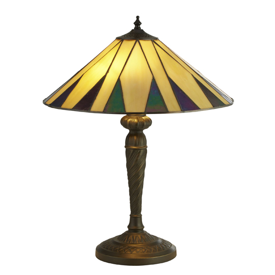 Charleston Tiffany Table Lamp In Yellow And Multicolour