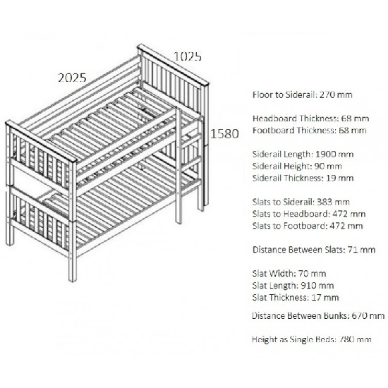 Charleston Wooden Bunk Bed In Ivory Finish_2
