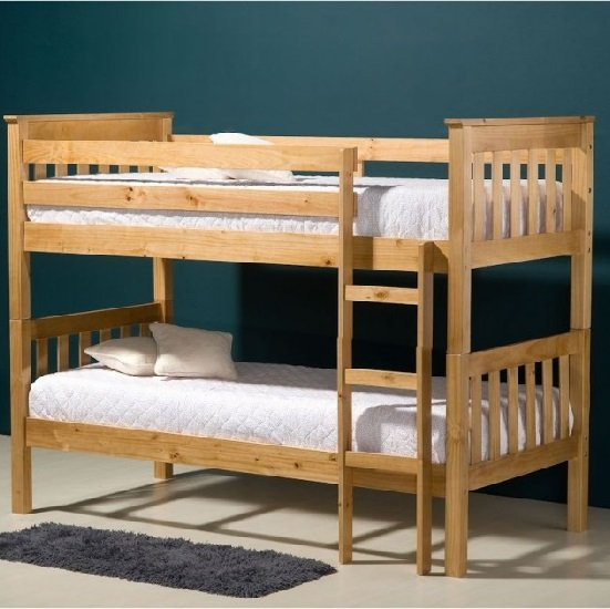 Charleston Wooden Bunk Bed In Antique Pine Finish