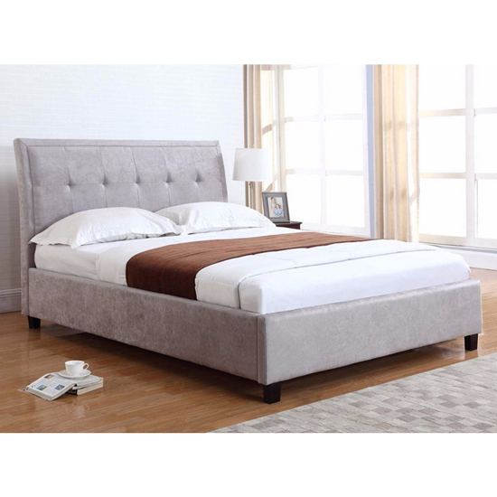 Charlotte Fabric Upholstered Super King Size Bed In Steel
