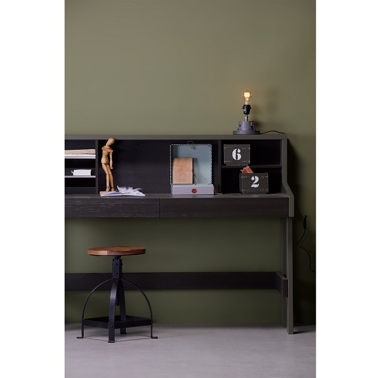 Charlotte Computer Desk In Forrest Charcoal With Shelves_3