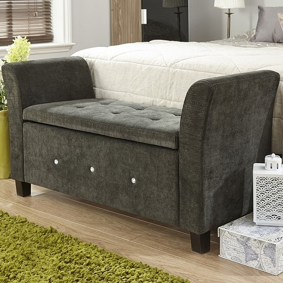 Charter Modern Fabric Ottoman Seat In Black With Diamante_1