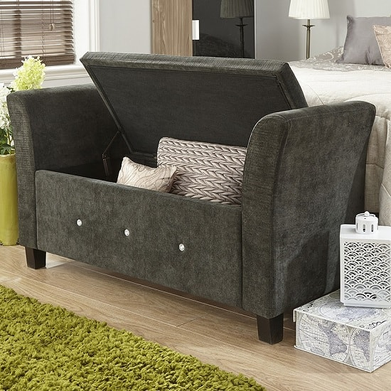Charter Modern Fabric Ottoman Seat In Black With Diamante_2