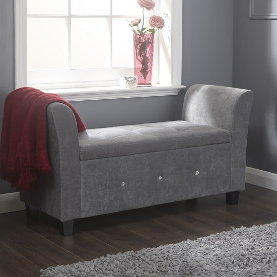 Charter Modern Fabric Ottoman Seat In Grey With Diamante