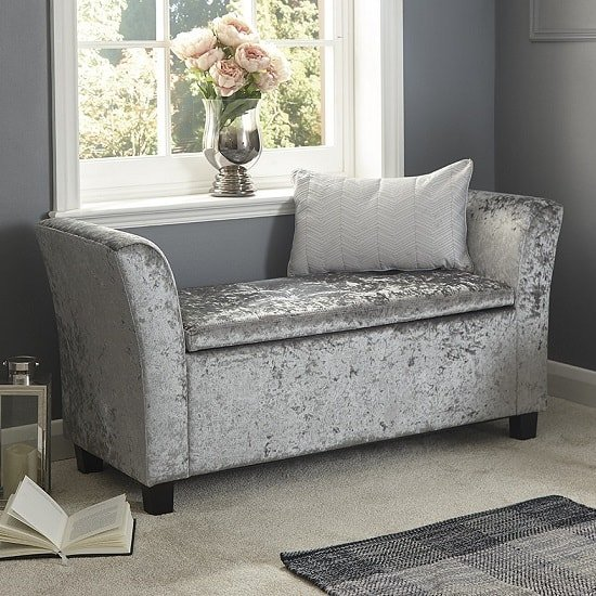 Charter Fabric Ottoman Seat In Grey Crushed Velvet