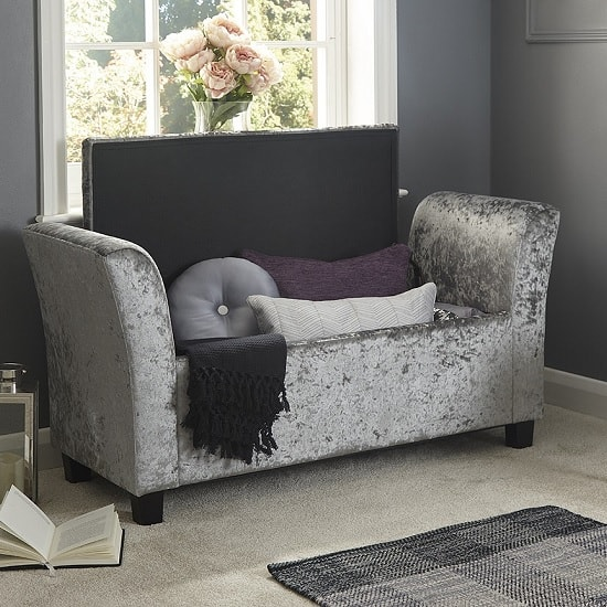 Charter Fabric Ottoman Seat In Grey Crushed Velvet_2
