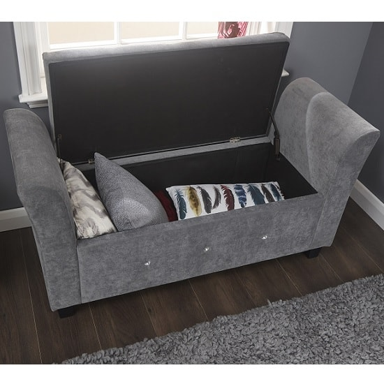 Charter Modern Fabric Ottoman Seat In Grey With Diamante_3