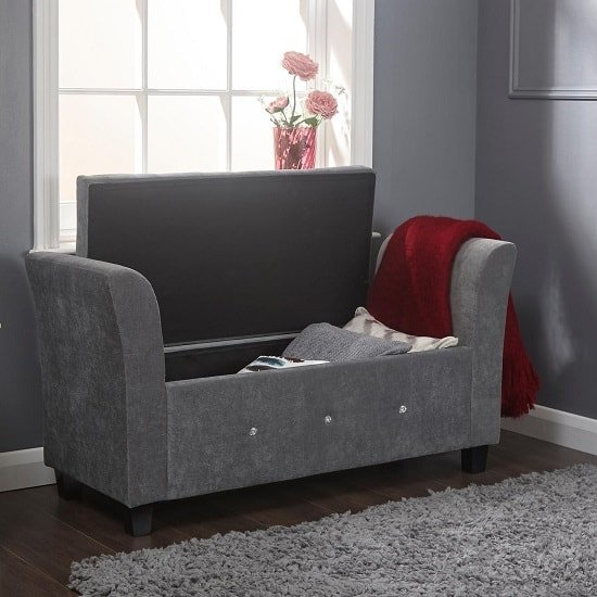 Charter Modern Fabric Ottoman Seat In Grey With Diamante_2