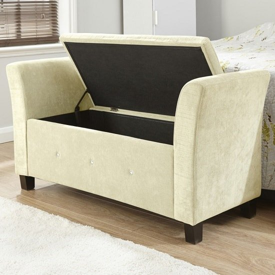 Charter Modern Fabric Ottoman Seat In Natural With Diamante_2