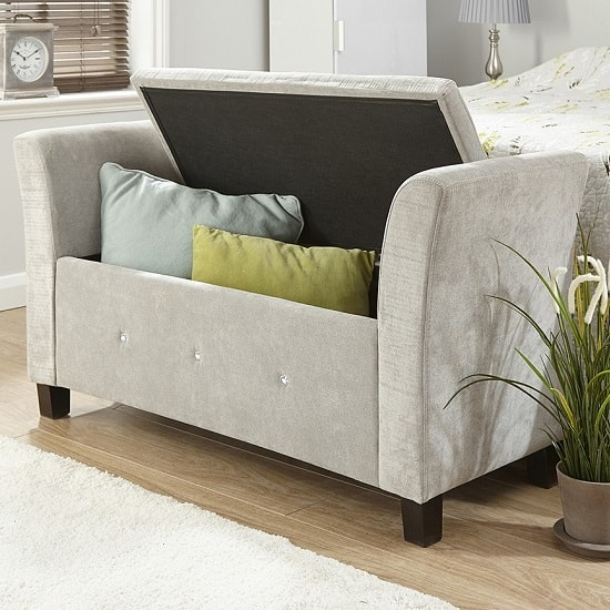 Charter Modern Fabric Ottoman Seat In Silver With Diamante_2