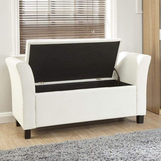 Charter Ottoman Seat In White Faux Leather With Wooden Feet_2