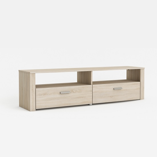 Chase Wooden TV Stand In Brushed Oak With 2 Drawers