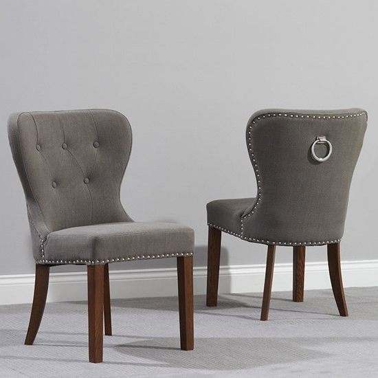 Chason Dark Wood Grey Dining Chair In Pair