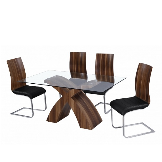 Chateau Modern Glass Dining Table In Clear Walnut With 6 Chairs