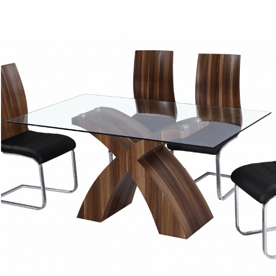 Chateau Modern Glass Dining Table In Clear With Walnut Base