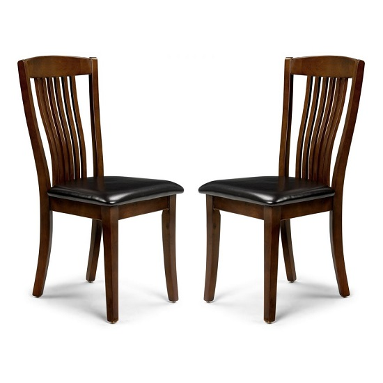 Chaumont Dining Chair In Mahogany With Brown Seat In A Pair