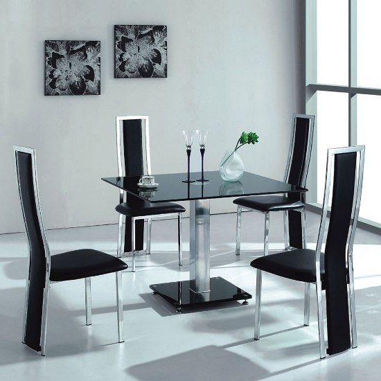 vo1 black glass square dining table with four dining chairs