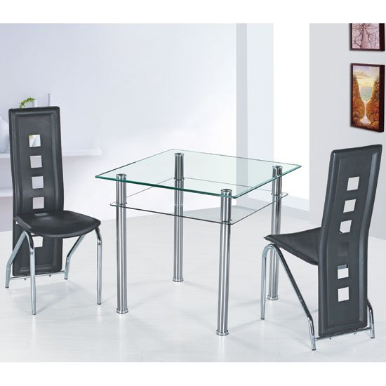 Como Clear Glass Dining Table And 4 Black Siena Dining Chairs